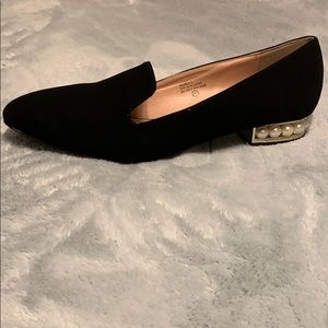 Black Faux Suede Flats with Pearl Accents
